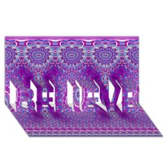 India Ornaments Mandala Pillar Blue Violet BELIEVE 3D Greeting Card (8x4)