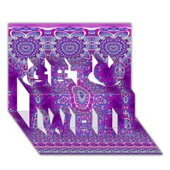 India Ornaments Mandala Pillar Blue Violet Get Well 3D Greeting Card (7x5)