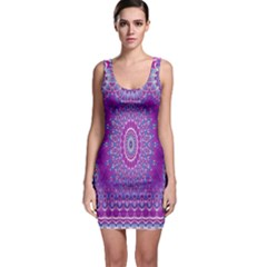 India Ornaments Mandala Pillar Blue Violet Sleeveless Bodycon Dress
