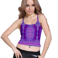 India Ornaments Mandala Pillar Blue Violet Spaghetti Strap Bra Top