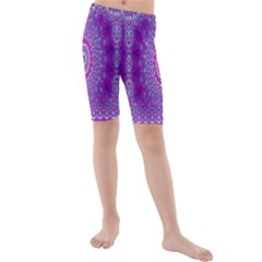 India Ornaments Mandala Pillar Blue Violet Kids  Mid Length Swim Shorts