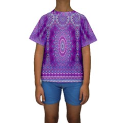 India Ornaments Mandala Pillar Blue Violet Kids  Short Sleeve Swimwear