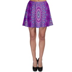 India Ornaments Mandala Pillar Blue Violet Skater Skirt