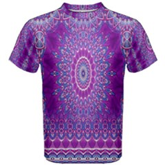 India Ornaments Mandala Pillar Blue Violet Men s Cotton Tee