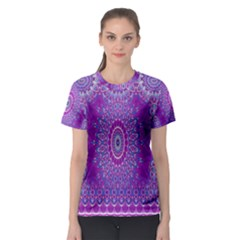 India Ornaments Mandala Pillar Blue Violet Women s Sport Mesh Tee