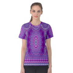 India Ornaments Mandala Pillar Blue Violet Women s Cotton Tee
