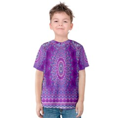 India Ornaments Mandala Pillar Blue Violet Kids  Cotton Tee