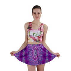 India Ornaments Mandala Pillar Blue Violet Mini Skirt