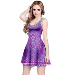 India Ornaments Mandala Pillar Blue Violet Reversible Sleeveless Dress