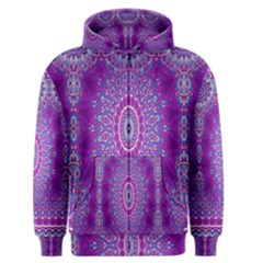 India Ornaments Mandala Pillar Blue Violet Men s Zipper Hoodie