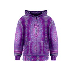 India Ornaments Mandala Pillar Blue Violet Kids  Zipper Hoodie