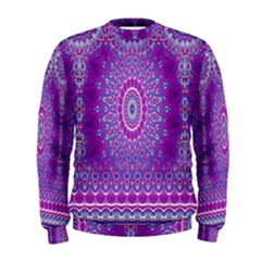 India Ornaments Mandala Pillar Blue Violet Men s Sweatshirt