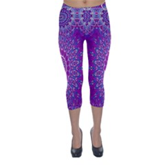 India Ornaments Mandala Pillar Blue Violet Capri Winter Leggings