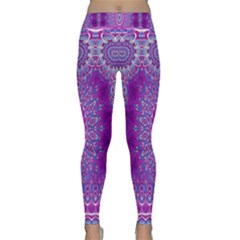 India Ornaments Mandala Pillar Blue Violet Yoga Leggings