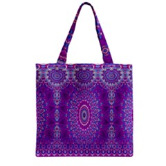 India Ornaments Mandala Pillar Blue Violet Zipper Grocery Tote Bag
