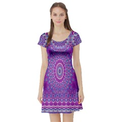 India Ornaments Mandala Pillar Blue Violet Short Sleeve Skater Dress