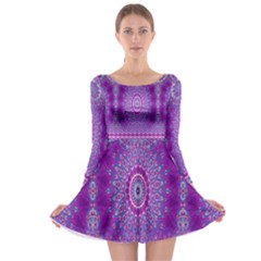 India Ornaments Mandala Pillar Blue Violet Long Sleeve Skater Dress