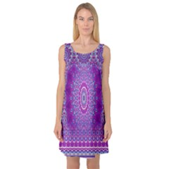 India Ornaments Mandala Pillar Blue Violet Sleeveless Satin Nightdress