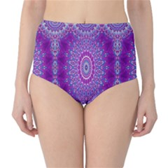 India Ornaments Mandala Pillar Blue Violet High-Waist Bikini Bottoms