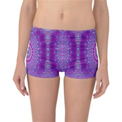 India Ornaments Mandala Pillar Blue Violet Reversible Boyleg Bikini Bottoms