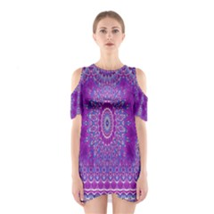 India Ornaments Mandala Pillar Blue Violet Cutout Shoulder Dress