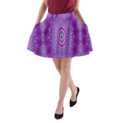 India Ornaments Mandala Pillar Blue Violet A-Line Pocket Skirt