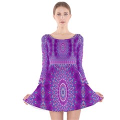 India Ornaments Mandala Pillar Blue Violet Long Sleeve Velvet Skater Dress