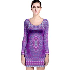 India Ornaments Mandala Pillar Blue Violet Long Sleeve Velvet Bodycon Dress