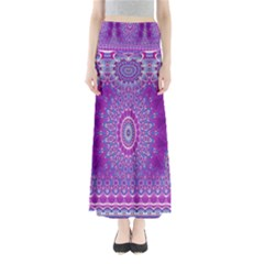 India Ornaments Mandala Pillar Blue Violet Maxi Skirts