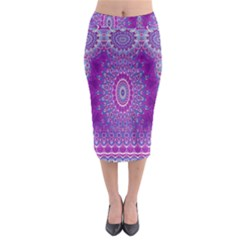 India Ornaments Mandala Pillar Blue Violet Midi Pencil Skirt