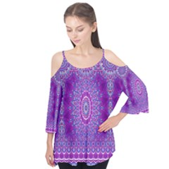 India Ornaments Mandala Pillar Blue Violet Flutter Tees