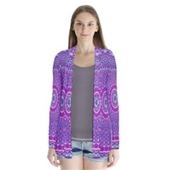 India Ornaments Mandala Pillar Blue Violet Drape Collar Cardigan