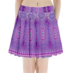 India Ornaments Mandala Pillar Blue Violet Pleated Mini Skirt