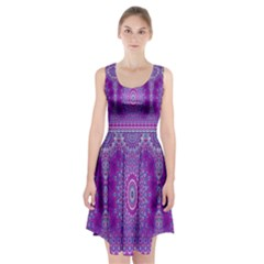 India Ornaments Mandala Pillar Blue Violet Racerback Midi Dress