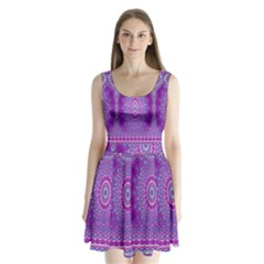 India Ornaments Mandala Pillar Blue Violet Split Back Mini Dress
