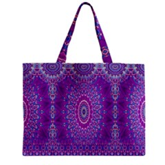 India Ornaments Mandala Pillar Blue Violet Medium Tote Bag