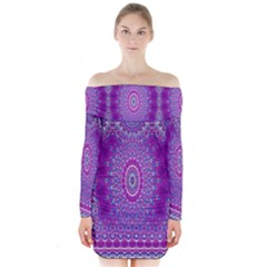 India Ornaments Mandala Pillar Blue Violet Long Sleeve Off Shoulder Dress