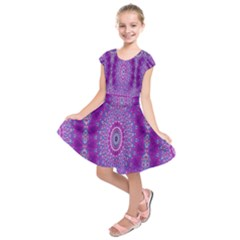 India Ornaments Mandala Pillar Blue Violet Kids  Short Sleeve Dress