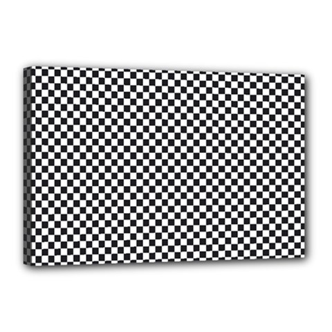 Sports Racing Chess Squares Black White Canvas 18  X 12  by EDDArt