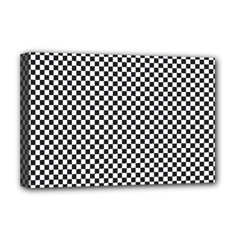 Sports Racing Chess Squares Black White Deluxe Canvas 18  X 12   by EDDArt