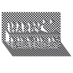 Sports Racing Chess Squares Black White Happy Birthday 3d Greeting Card (8x4) by EDDArt