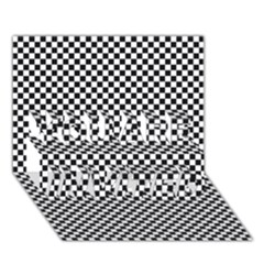 Sports Racing Chess Squares Black White You Are Invited 3d Greeting Card (7x5) by EDDArt