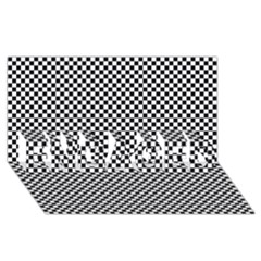 Sports Racing Chess Squares Black White Engaged 3d Greeting Card (8x4) by EDDArt