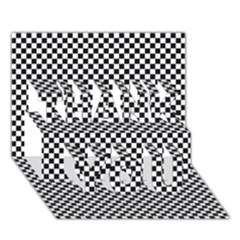 Sports Racing Chess Squares Black White Thank You 3d Greeting Card (7x5) by EDDArt