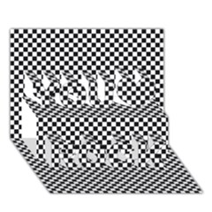 Sports Racing Chess Squares Black White You Rock 3d Greeting Card (7x5) by EDDArt
