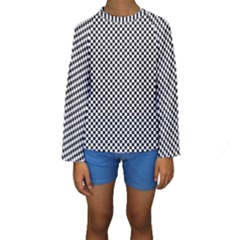 Sports Racing Chess Squares Black White Kids  Long Sleeve Swimwear by EDDArt