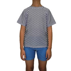Sports Racing Chess Squares Black White Kids  Short Sleeve Swimwear by EDDArt
