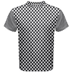 Sports Racing Chess Squares Black White Men s Cotton Tee by EDDArt