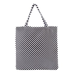 Sports Racing Chess Squares Black White Grocery Tote Bag by EDDArt