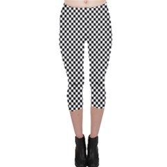 Sports Racing Chess Squares Black White Capri Leggings  by EDDArt
